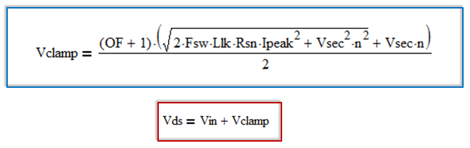 RCD clamp voltage clamp equation