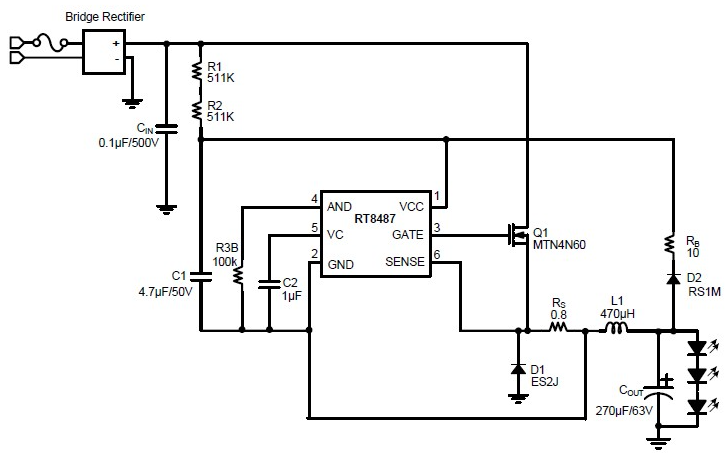 high voltagae buck LED driver circuit